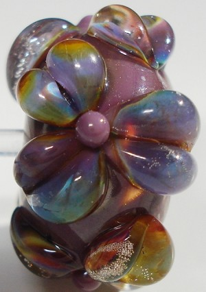 Raku on Purple Glass Lampwork Beads