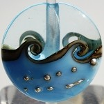 Light Aqua Wave Glass Lampwork Beads