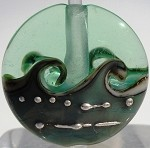 Copper Green Wave Glass Lampwork Beads
