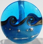 Dark Turquoise  Wave Glass Lampwork Beads