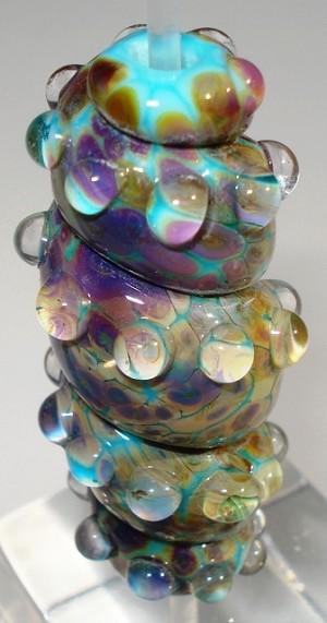 Turquoise Amp Raku Frit Twister Glass Lampwork Beads