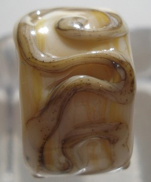 Raised Swirl Glass Lampwork Bead - Ivory