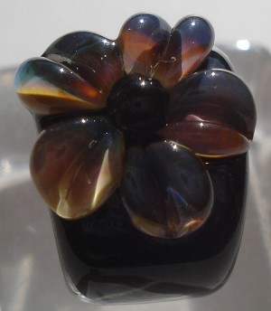 Single Flower - Black and Raku Glass Lampwork Bead