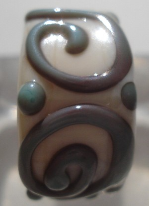 Raised  Swirl - Copper Green and Ivory Glass Lampwork Bead