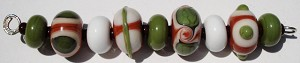 Terra Cotta and Sage Glass Lampwork Beads