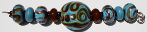 Turquoise and Brown Glass Lampwork Beads