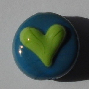 Heart - Pea Green on Dark Turquoise Glass Lampwork Beads