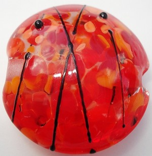 Bright Stripes and Frit - Red Glass Lampwork Beads