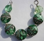 Silver Green Waves Glass Lampwork Beads