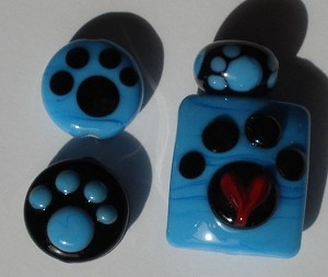 Turquoise and Black Paws Glass Lampwork Beads