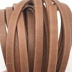 Flat Leather 5mm - per YARD Matte Saddle Brown