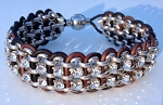 Double Crystal, Chain and Leather Kit - Brown and silver