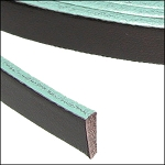 Flat Leather 5mm - per inch Brown with Turquoise edge