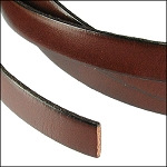 Flat Leather 5mm - per YARD Tan/Black