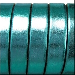 Electric Metallic Flat Leather 10mm - per inch Turquoise