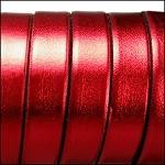 Electric Metallic Flat Leather 10mm - per inch Red