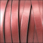 Metallic Flat Leather 5mm - per inch Rose