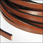 Flat Leather 5mm - per inch Tan/Black