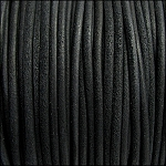 3mm round SUEDE Euro leather BLACK - per 4 feet
