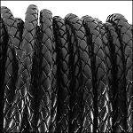 5MM ROUND BRAIDED EURO LEATHER PER INCH Black