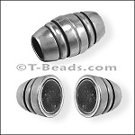 Barrel with lines MAGNETIC clasp - Silver