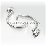Bracelet bar Button clasp  ANT SILVER (flat leather)