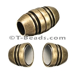 Barrel with lines MAGNETIC clasp - Brass