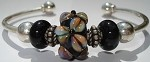 Black Raku Flower Bangle Bracelet