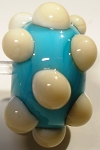 Bumps - Ivory on Turquoise Glass Lampwork Beads