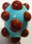 Bumps - Brown on Turquoise Glass Lampwork Beads