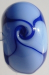 Wave - Periwinkle on Lapis Blue Glass Lampwork Beads