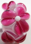 Pink on Clear Glass Lampwork Beads