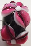 Pink on Black Glass Lampwork Beads