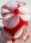 White on Red Glass Lampwork Beads