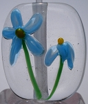 Blue Daisies Glass Lampwork Beads