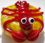 Lobster on Sand Glass Lampwork Beads