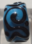 Raised Swirl Glass Lampwork Bead - Turquoise and Black