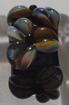 Triple Flower - Black and Raku Glass Lampwork Bead