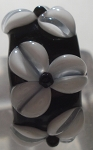 Three White Flowers on Black Glass Lampwork Bead