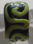 Raised Swirl - Black and Green Glass Lampwork Bead