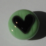 Heart - Black on Seafoam Green Glass Lampwork Beads