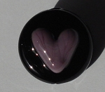 Heart - Purple on Black Glass Lampwork Beads