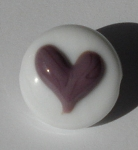 Heart - Purple on White Glass Lampwork Beads