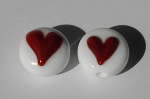 Heart - Red on White Glass Lampwork Beads