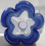 Periwinkle and Ink Blue Flower Disc Glass Lampwork Beads