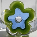Transparent Pale Blue and Pea Green Flower Disc Glass Lampwork Beads