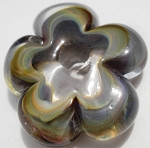 Raku and Clear Flower Disc Glass Lampwork Beads