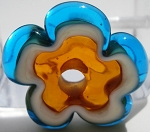 Transparent Aqua and Topaz Flower Disc Glass Lampwork Beads