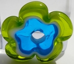 Transparent Grass Green and  Aqua Flower Disc Glass Lampwork Beads