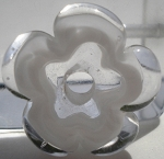 White and Clear Flower Disc Glass Lampwork Beads